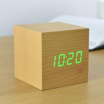 Cube Click Clock Beech/ Green LED, 6.8cm
