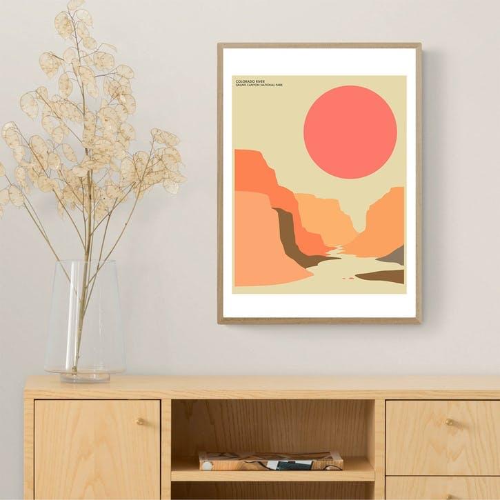 Jazzberry Blue, Grand Canyon, Framed Art Print, H61 x W44 x D2cm, Beige/ Natural