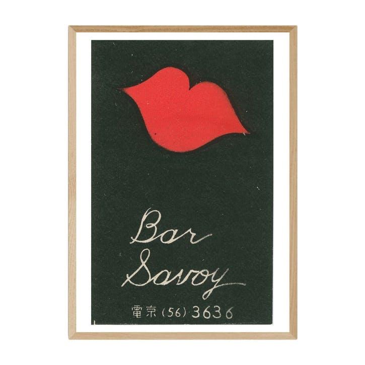 Matchbox Label, Bar Savoy, Framed Art Print, H62 x W44 x D2cm, Beige/ Natural