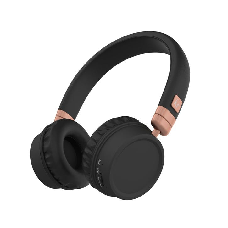 Harlem Wireless Over-Ear Headphones With Microphone; Black & Rose Gold