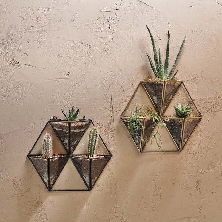 Karana Wall Hung Planter Display - Large; Antique Brass
