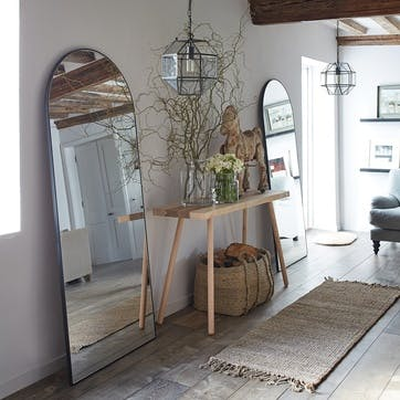 Chiltern Thin Metal Arch Mirror, Black
