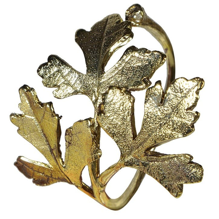 Brass Leaf Napkin Ring, Set of 4
