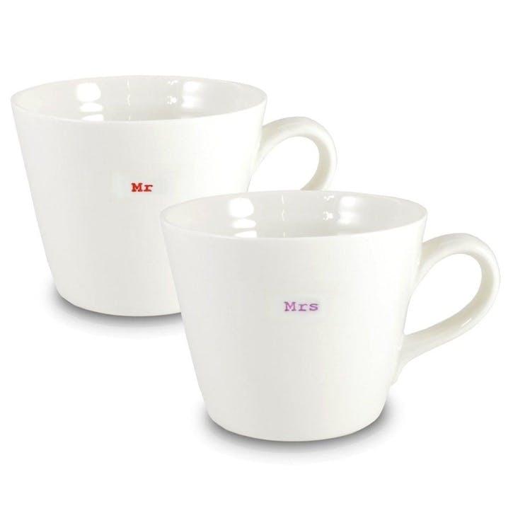'Mr & Mrs' Set of 2 Bucket Mugs, 350ml