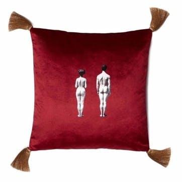 The Models Velvet Cushion, Berry Red
