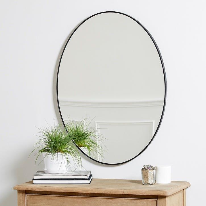 Chiltern Thin Metal Oval Mirror, Black