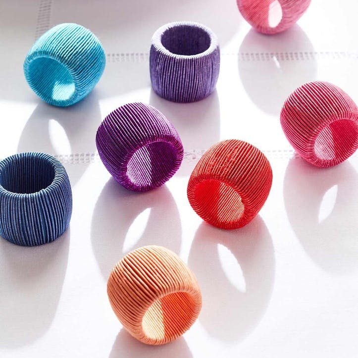Rainbow Cord Napkin Rings, Set of 8