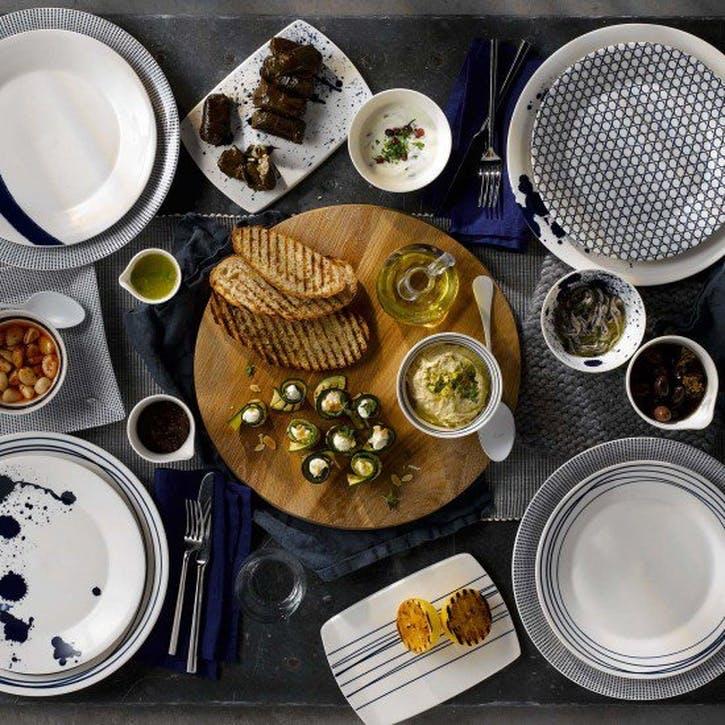 ED Ellen DeGeneres Serving Platter, Cobalt Blue Chevron