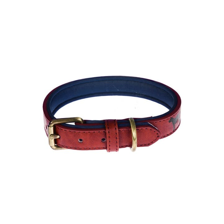 Faux Leather Dog Collar, Red, Medium