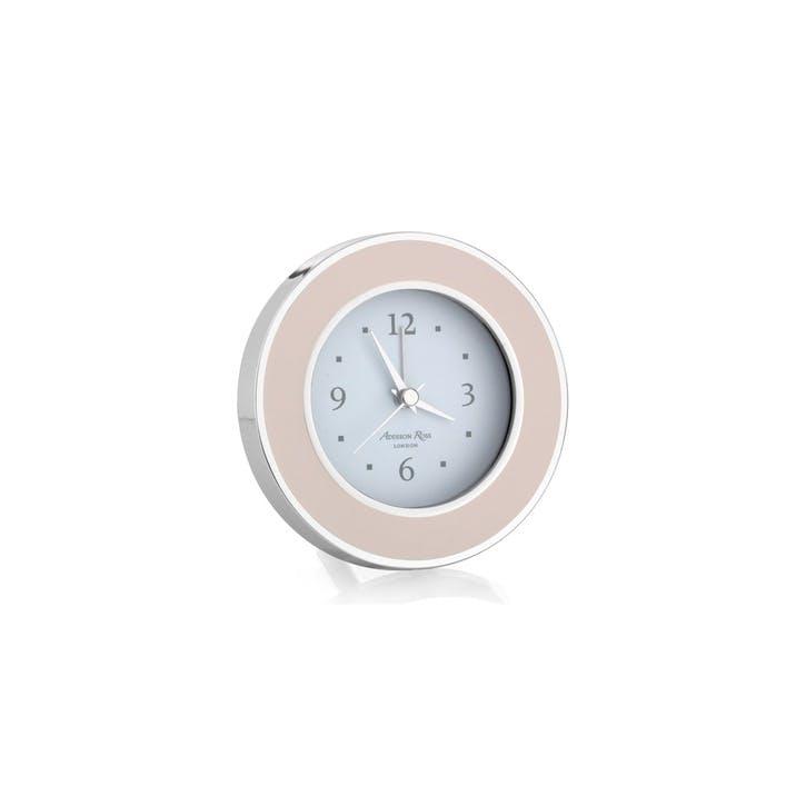 Alarm Clock; Light Pink & Silver
