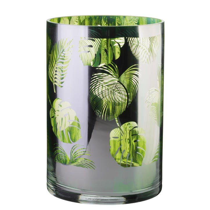 Tropical Leaves Hurricane Lamp, Large