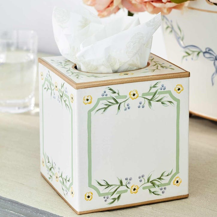 Gustavian Hand-Painted Tissue Box Cover