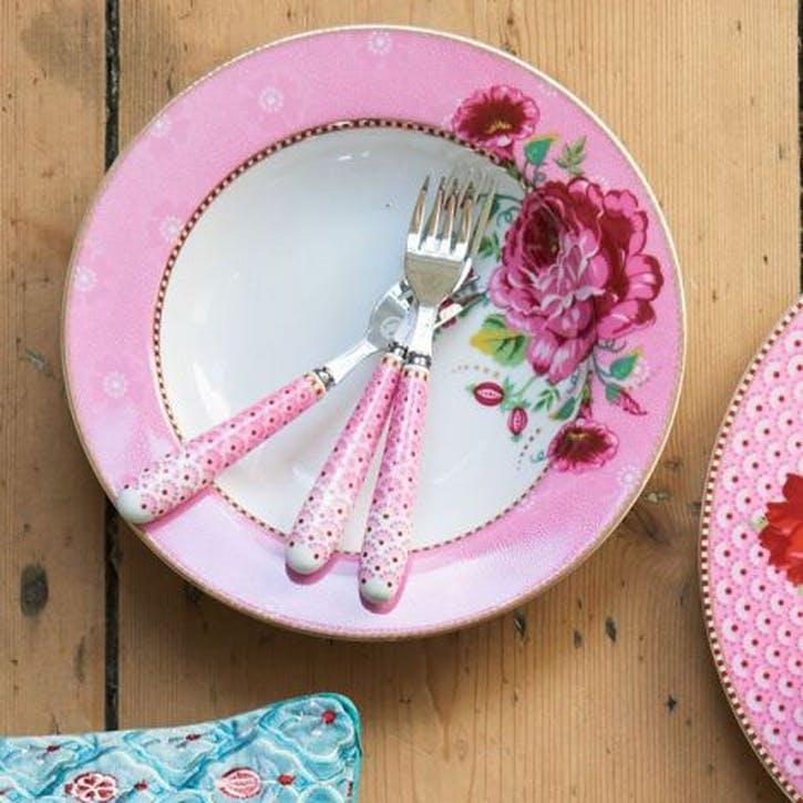 PiP Floral 2.0 Cake Forks, Set of 4, Pink
