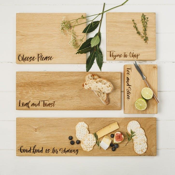 """Cheese Please"" Oak Chopping Board"