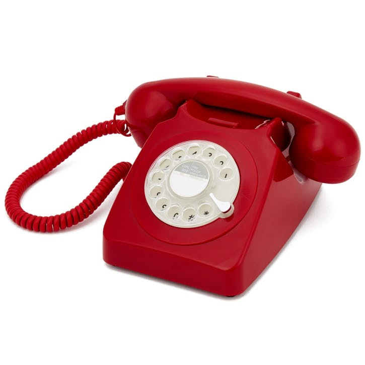 746 Rotary Telephone; Red