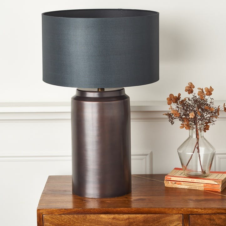Aged Petrol Metal Table Lamp, Large, Antique Copper