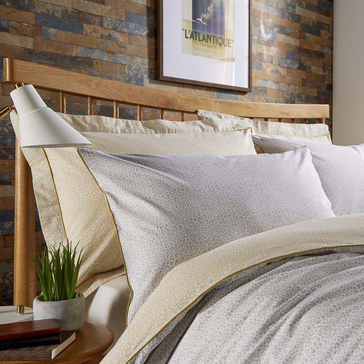 Contemporary Home Printed Bedding Set, Super King, Sand/Grey