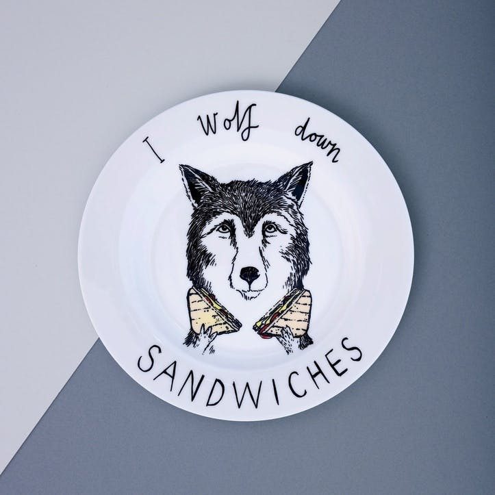 'I Wolf Down Sandwiches' Side Plate