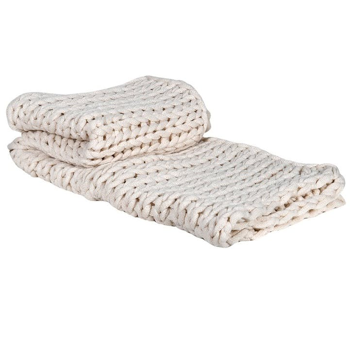Chunky Knit Blanket, Off White