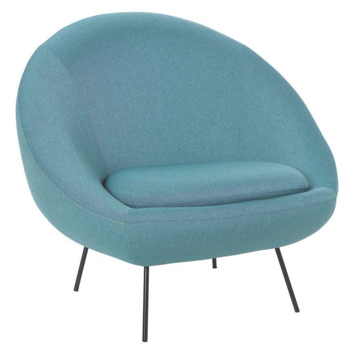 Misty Fabric Armchair, Teal Blue