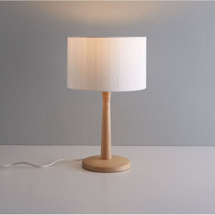 Pip Oak Wooden Table Lamp and White Silk Shade