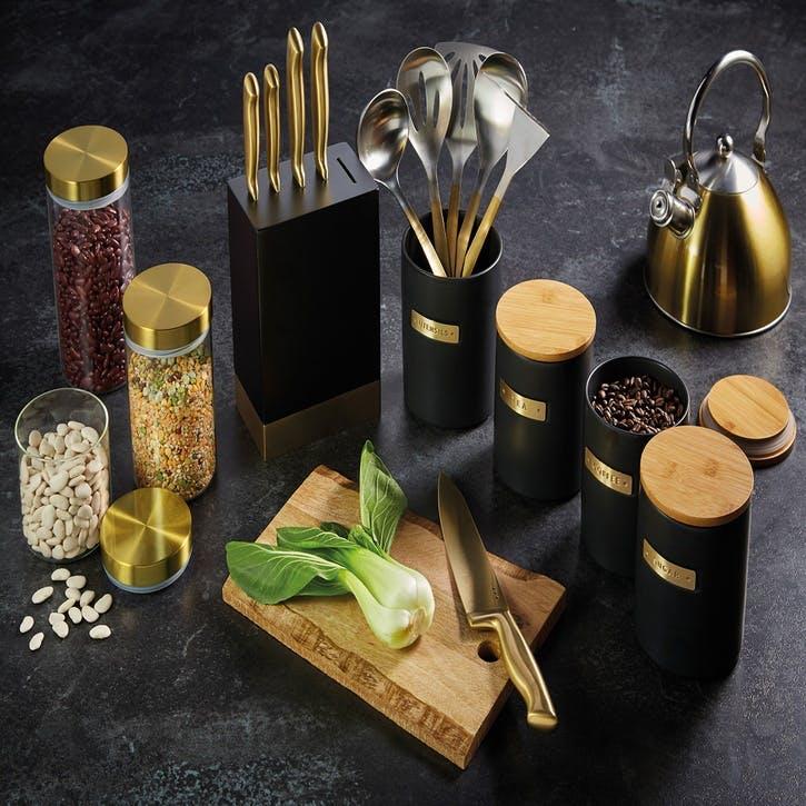 Metallics Airtight Medium Glass Food Storage Jar with Brass Lid