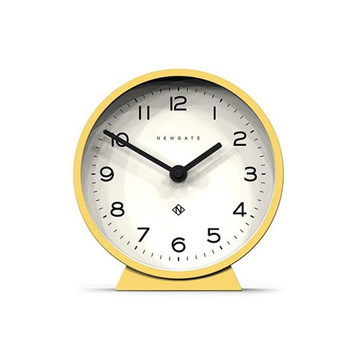 Mr Mantel Echo, Mantel Clock, W17cm x D6cm x H17cm, Yellow