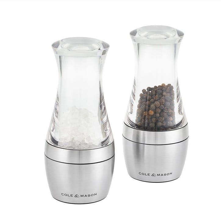 Wishford Stemless Salt & Pepper Mill Gift Set, 140mm