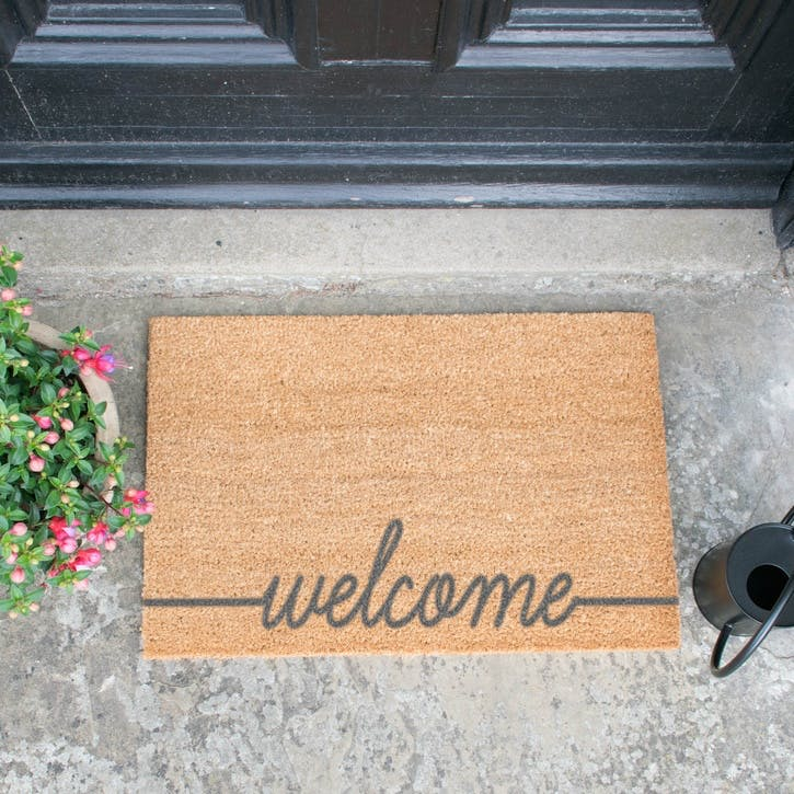 Welcome Scribble Doormat, Grey