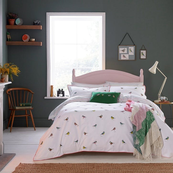 Great British Birds Super-King Duvet Cover, Chalk
