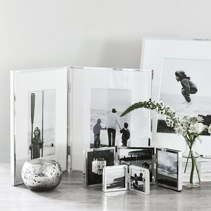 "Fine Silver Triple Aperture Hinged Photo Frame 3x3"""