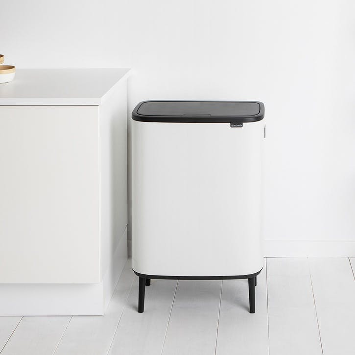 Bo Hi Recycling Bin with 2 Inner Buckets, White
