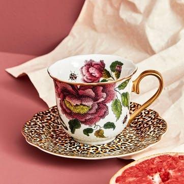 Tea Cup & Saucer Fluted, Floral