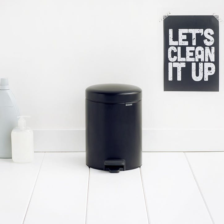 NewIcon Pedal Bin, 5L, Matt Black