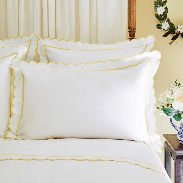 Yellow Scalloped Square Pillowcase