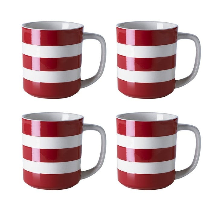 Cornish Red Mugs 10oz, Set of 4