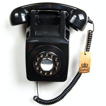 746 Wall Push Button Telephone; Black