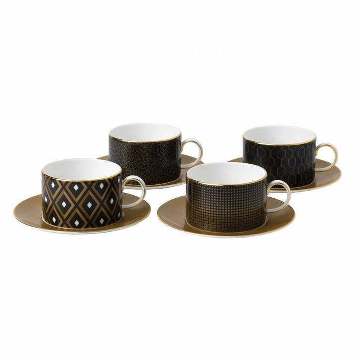 Arris Charcoal Set of 4 Teacup And Saucers
