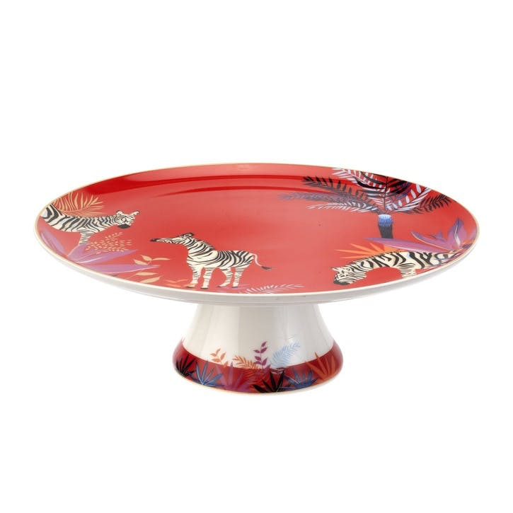 Zebra Footed Cake Plate, 27cm