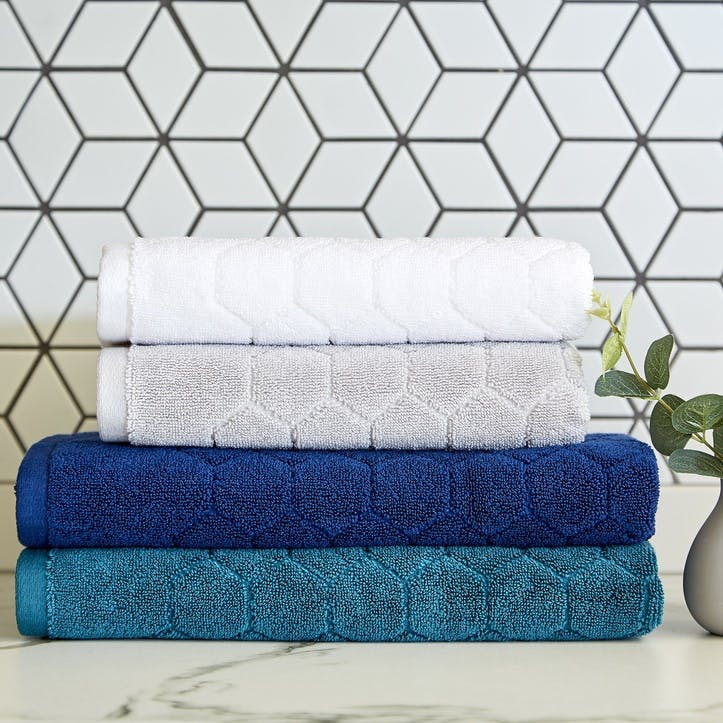 Honeycomb Bath Towel, Navy