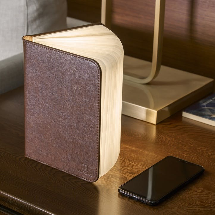 LED Smart Book Light, Standard, Brown Leather