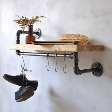 New York Industrial Pipe Shelf - 65 x 35cm; Natural