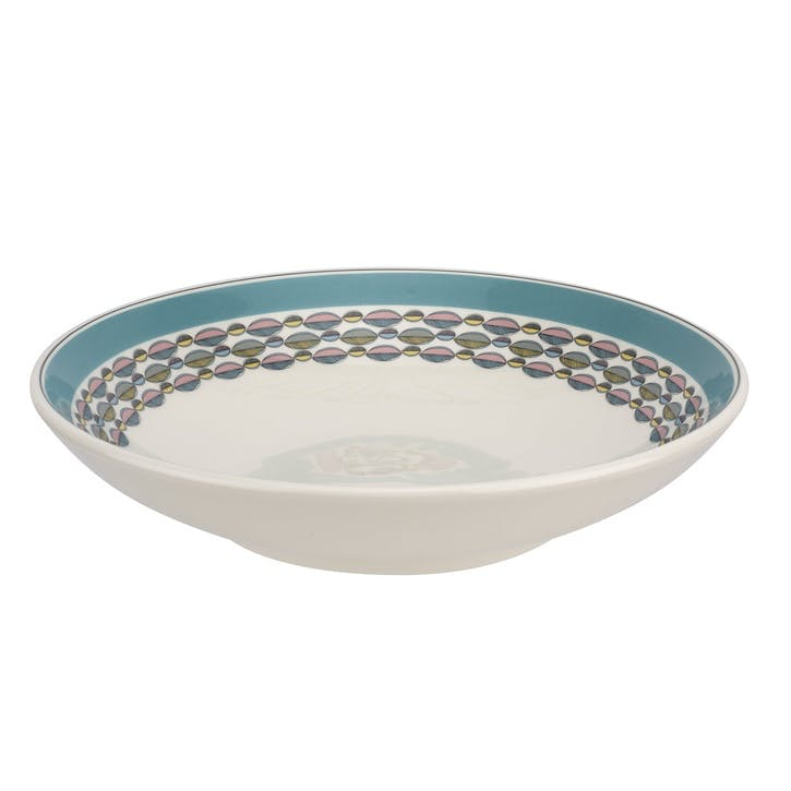 """Westerly Low Pasta Bowl, Set of Four - 8.5""""; Turquoise Band"""