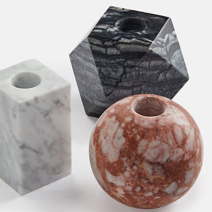 Kalik Marble Set of 3 Candleholders, Multi Colour