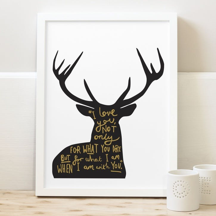 'Love Deer Quote' Black & Gold Print White Background, A4