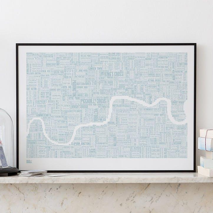 Type Map Screen Print London, 50cm x 70cm, Duck Egg Blue