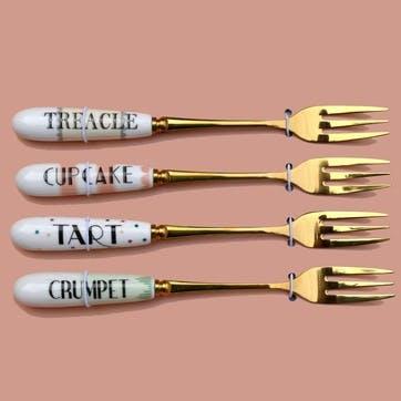 Pastel Cake Forks, Set of 4