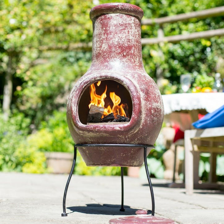 Mottled Clay Chimenea, Dark Red