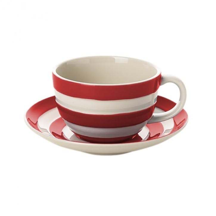 Cornish Red Breakfast Cups & Saucers, Set of 4