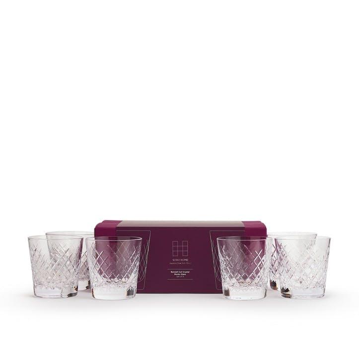 Barwell Cut Crystal Rocks Glass, Set of 6